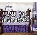 Sweet Jojo Designs 9-Piece Boutique Sloane Lavender Purple White Polka Dot and Damask Girls Baby Bedding Crib Set