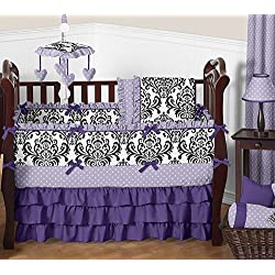 Sweet Jojo Designs Boutique Sloane Lavender Purple White Polka Dot and Damask Girls Baby Bedding 9 Piece Crib Set