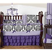 Sweet Jojo Designs 9-Piece Boutique Sloane Lavender Purple White Polka Dot and Damask Girls Baby Bedding Crib Set