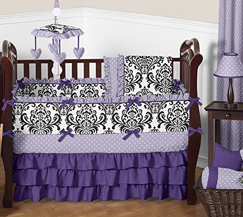 Sweet Jojo Designs Boutique Sloane Lavender Purple White Polka Dot and Damask Girls Baby Bedding 9 Piece Crib Set (Black And Purple Damask Bedding)