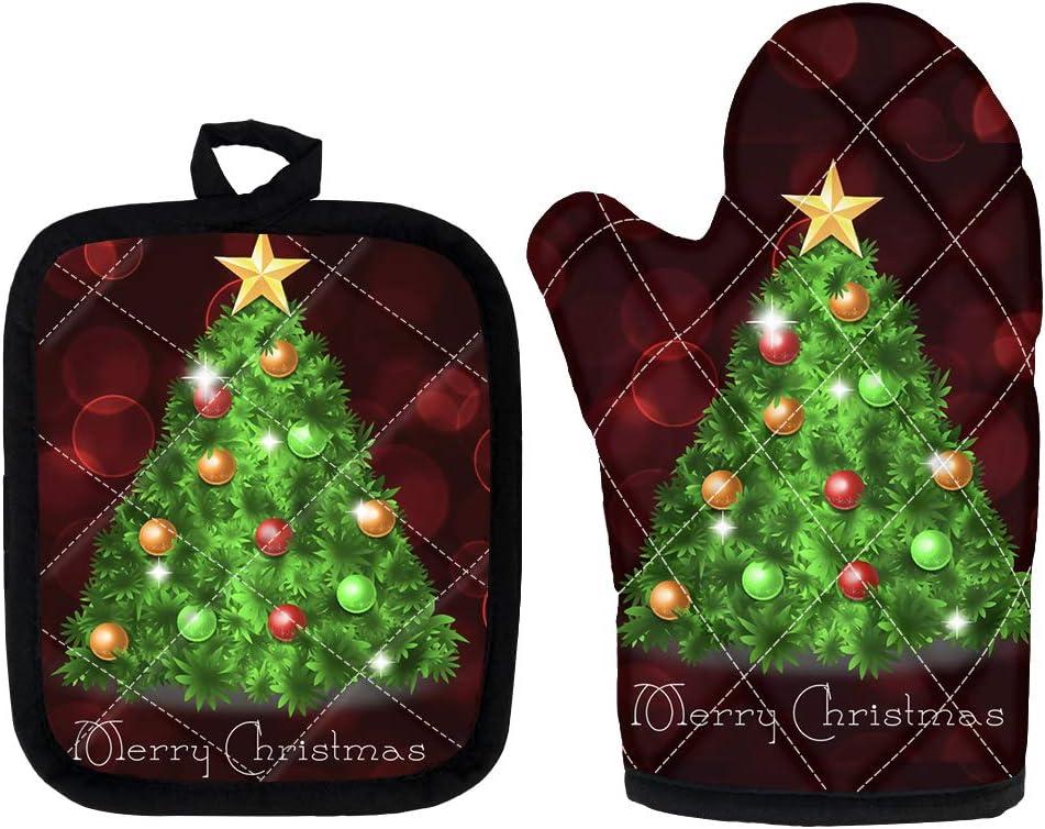 BIGCARJOB Christmas Decor Oven Mitts,Potholder Set,Christmas Tree Print Heat Resistant Oven Gloves Protect Hands, Hanging Loop Handling Hot Cookware