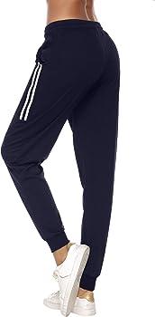 Aibrou Pantalones Chándal Raya Mujer Algodón Largos Pantalon para ...