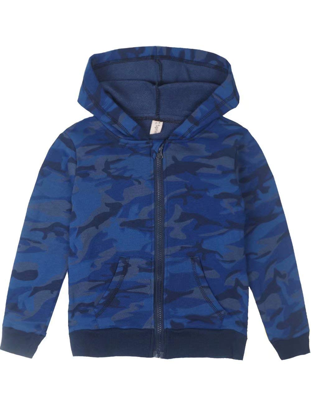 Spring&Gege Youth Classic Full Zip Camo Hoodies Kids Camouflage Hooded Sweatshirt for Boys and Girls Size 9-10 Years Camo-Blue