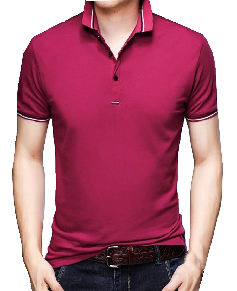 UNINUKOO Unko Men Hipster Casual Slim Fit Basic Polo Shirts Short Sleeve Tops