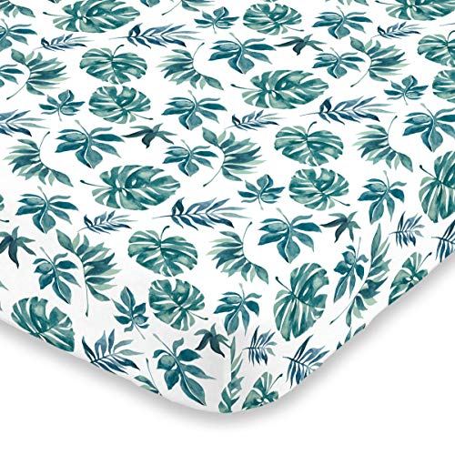 NoJo Super Soft Green & White Palm Leaf Nursery Crib Fitted Sheet, Green, ()