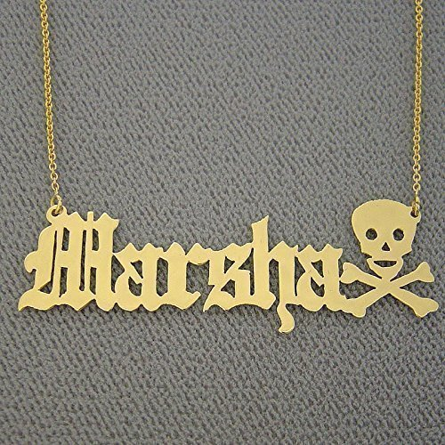Amazon com: 14k Gold Old English Name Necklace Personalized Skull