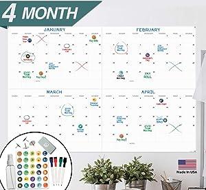 "X Large Dry Erase Wall Calendar - 24""x 36"" 4 Month Premium Giant Oversized Undated Erasable Deadline Task Calendar for 2020 - Jumbo Monthly Task Organizer Planner for Home, Business & Dorm Room"