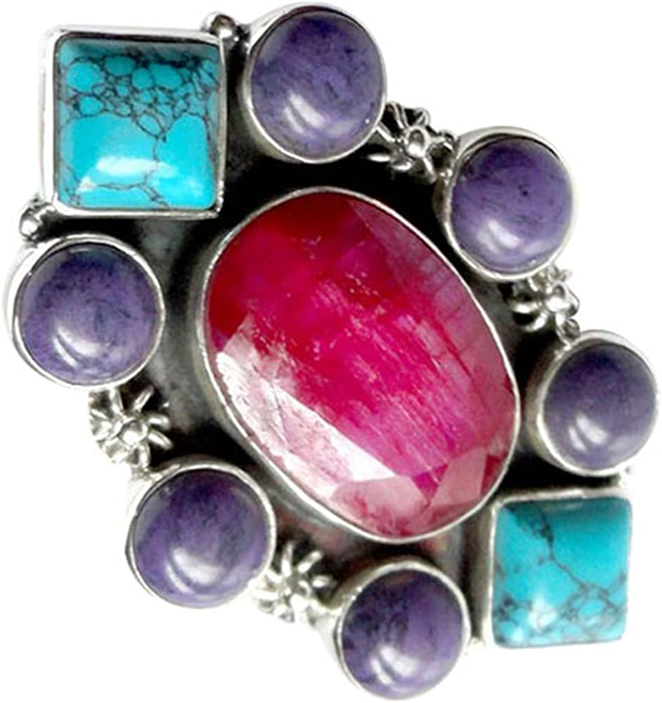srgjewellers 925 Sterling Silver Jewelry Ruby Turquoise Gemstone Ring Size 7.75 US # 9175