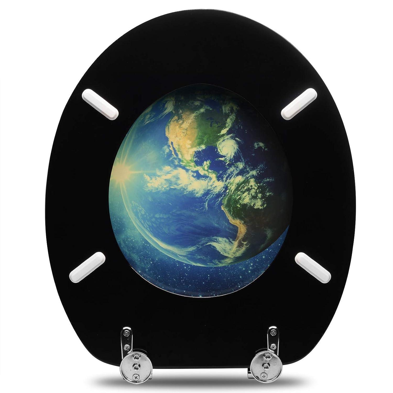 antibakteriell edel verchromte Zinkdruckguss Scharniere Desgin D/écor WOLTU #3 Premium WC-Sitz Toilettensitz MDF-Holzkern