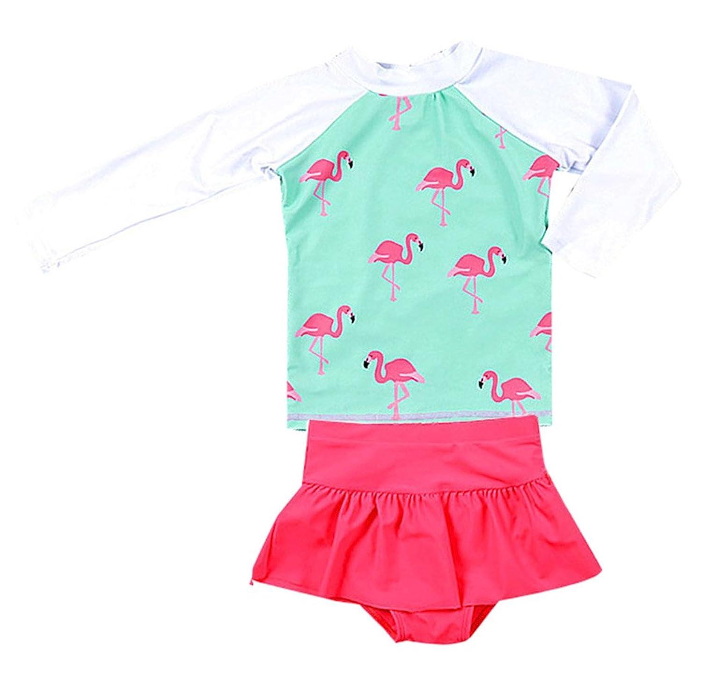 TAIYCYXGAN Little Girls Long Sleeve Rash Guards Set Swimsuit Kids 2pcs UV Sun Protective Bathing Suit UPF 50+