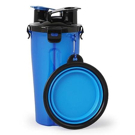 Dispensador de agua y comida portátil para mascotas con cuenco plegable de Aolvo, 2 en 1, capacidad para 350 ml de agua y 250 g de comida: Amazon.es: ...