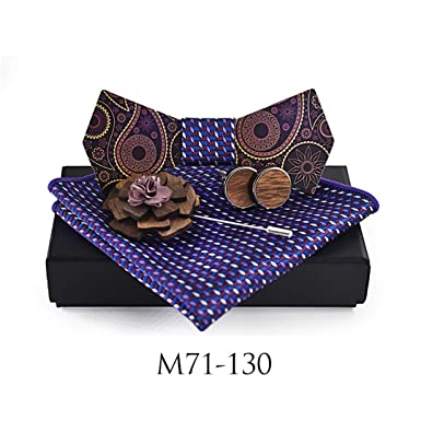 BILAIYASA Hombre Moda De Madera Bowtie Paisley Jacquard Tie ...
