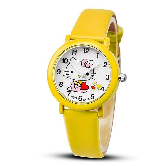 Niños Relojes para las niñas, reloj de niña dibujos animados bebé Time Teacher - Reloj de cuarzo para estudiantes reloj, amarillo: Amazon.es: Relojes