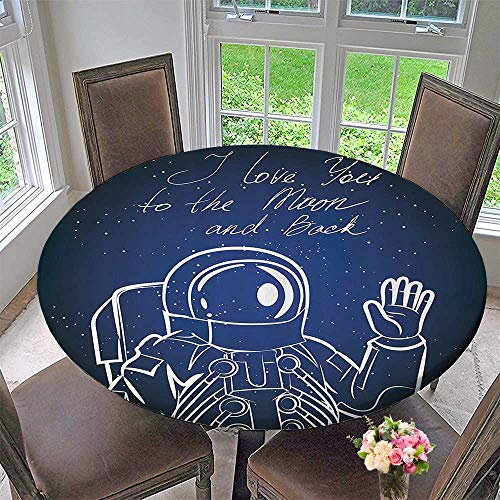 Mikihome Simple Modern Round Table Cloth I Love You Mo and Back Quote with Cosmaut Waving in frt of Star 67