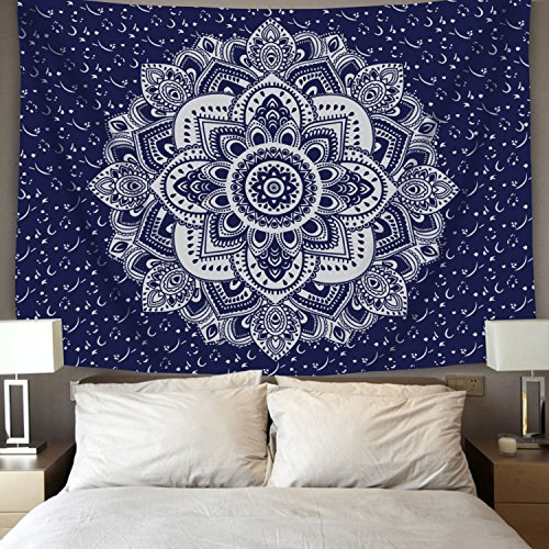 BLEUM CADE Mandala Tapestry Wall Hanging Dark Blue & White P