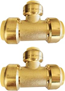 """(Pack of 2) EFIELD Höger 3/4""""x 3/4"""" x1/2"""" Tee Push-Fit Fitting to Connect Pex, Copper, CPVC, No-Lead Brass 2 Pieces"""