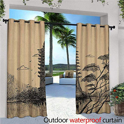 Asian Outdoor Privacy Curtain for Pergola Old Stone Tiered Tower Vintage Taoist House of Faith Historical Illustration Thermal Insulated Water Repellent Drape for Balcony W108