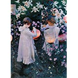 JOHN SINGER SARGENT Carnation, Lily, Lily, Rose, further detail c1885. 250gsm Gloss Art Card A3 Reproduction Poster by World of Art