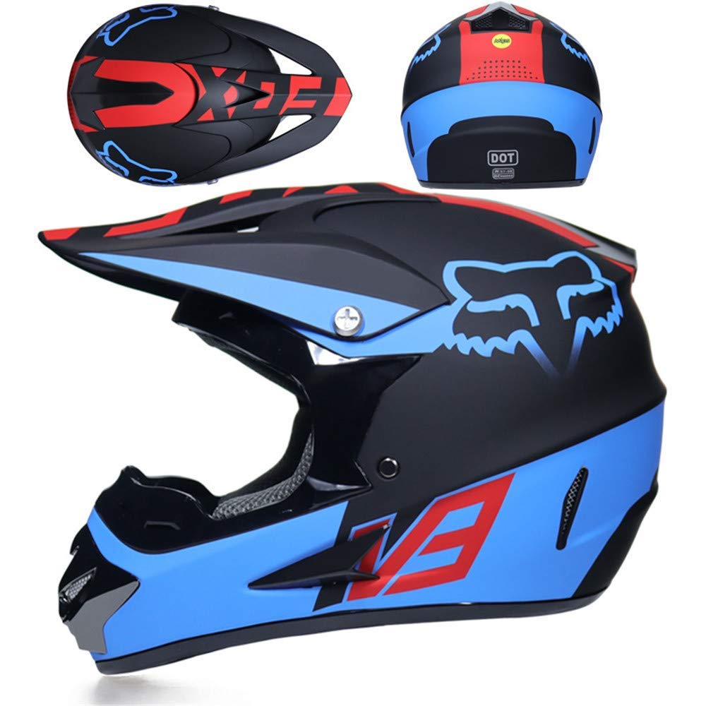 WSFF-helmet Casco para Moto Todoterreno Casco MX Motocicleta Casco ATV Carretera Carreras Casco D.O.T Fox Certificado Verde con Guantes a Prueba de Viento m/áscara,E,S 52~53cm