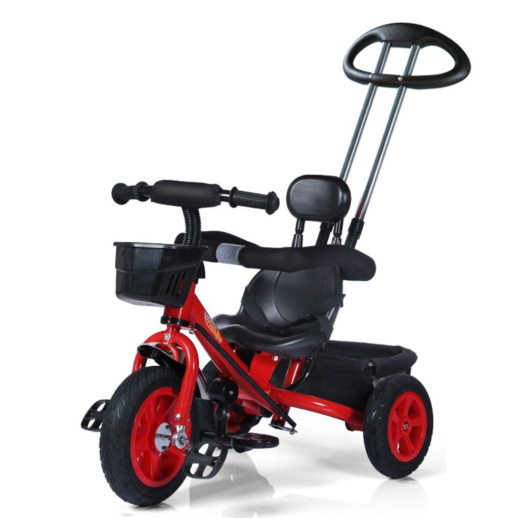 HAIZHEN マウンテンバイク 子供の三輪車防爆天然ゴム非インフレータブルチタン空の自転車プラスチックシート1-5歳赤ちゃん車のおもちゃトロリー調節可能なダブルプッシュロッド自転車85 * 50 * 90-100センチメートル 新生児  赤 B07DLC9Y97