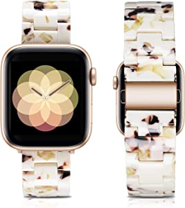 LINXUXIE Compatible with Apple Watch Bands 42mm/44mm,Resin Band Replacement Strap for Women Man with Stainless Steel Buckle for iWatch Series 6/5/4/3/2/1 Wristband (Milk Nougat White, 42/44mm)