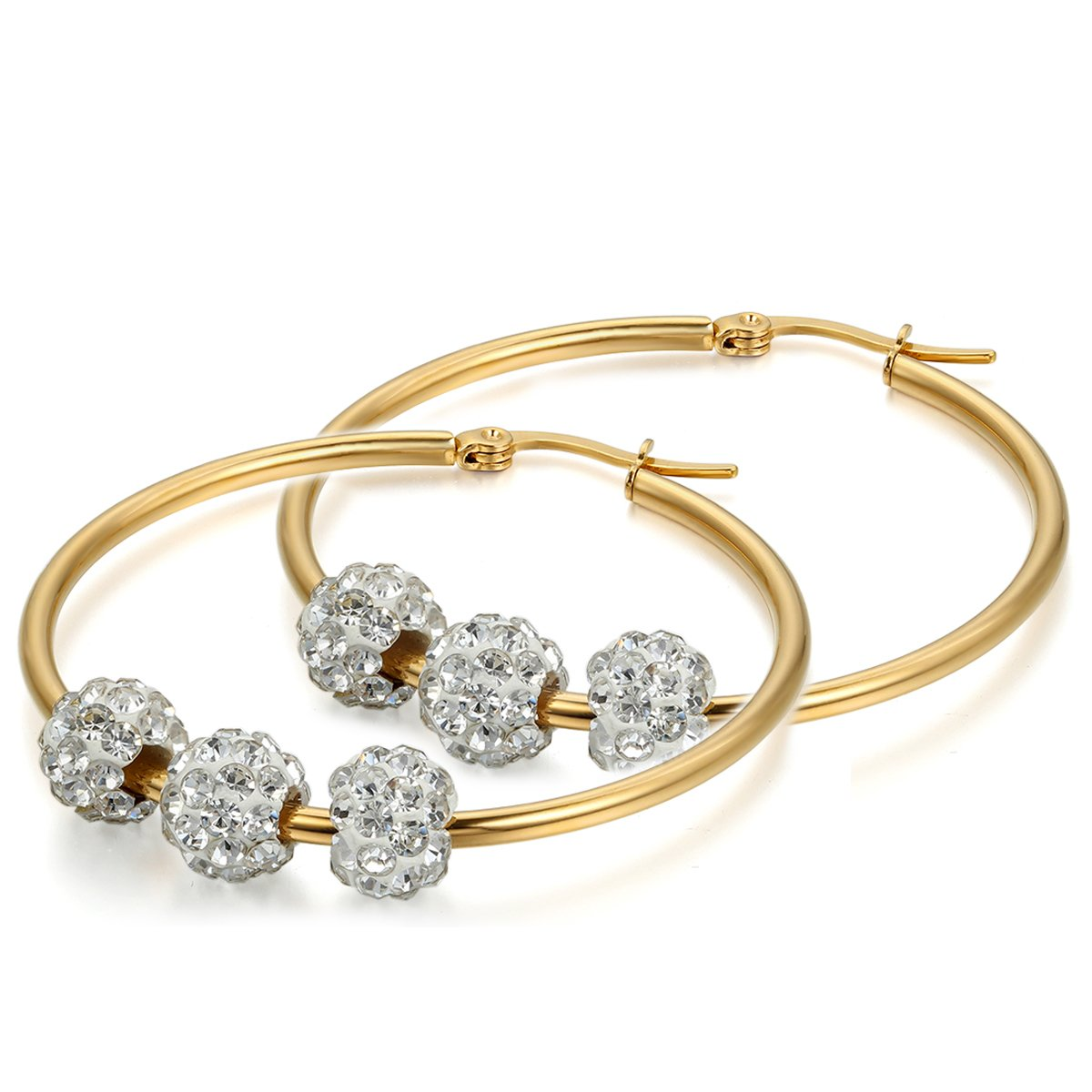 Flongo Pendientes Oro Mujer Grandes Pendientes de Aro Bolitas de Diamante de