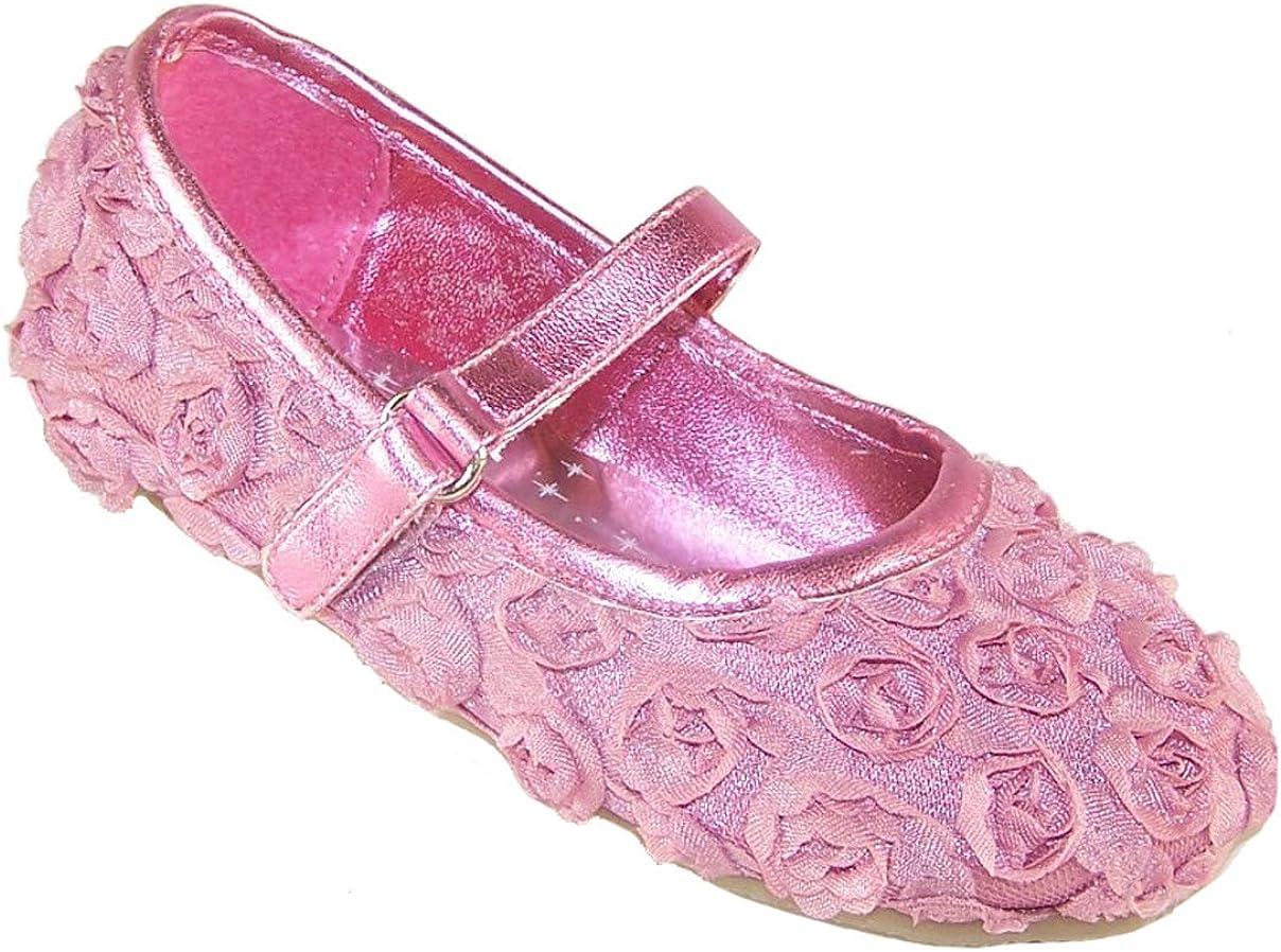 Sparkle Club Girls Infant Pink Satin and Flower Ballerina Shoes Ballet-Flats