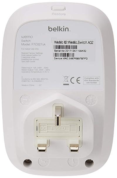 belkin wemo f7c027uk switch smart plug (wi-fi smart plug, control lights  and appliances from phone, works with amazon alexa): amazon co uk: diy &  tools