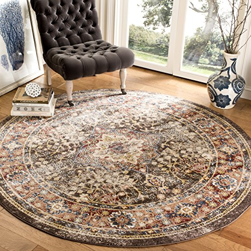 Rug Oriental Brown Round (Safavieh Bijar Collection BIJ652D Traditional Oriental Vintage Brown and Rust Round Area Rug (6'7