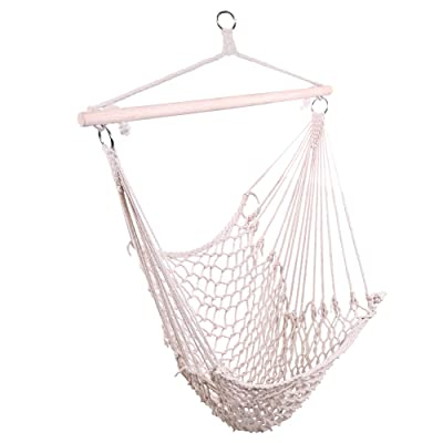 zhidong Hammock Chairs Cotton Hanging Rope Air/Sky Chair Swing Beige: Garden & Outdoor