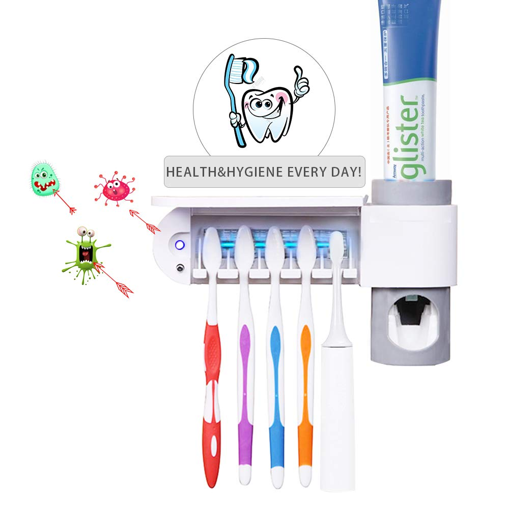 Sunwod UV Toothbrush Holder with Sterilization Function, Wall Mounted Rechargeable Electric Toothbrush Holder for Family, Automatic Toothpaste Dispenser with 5 Toothbrushes Holding