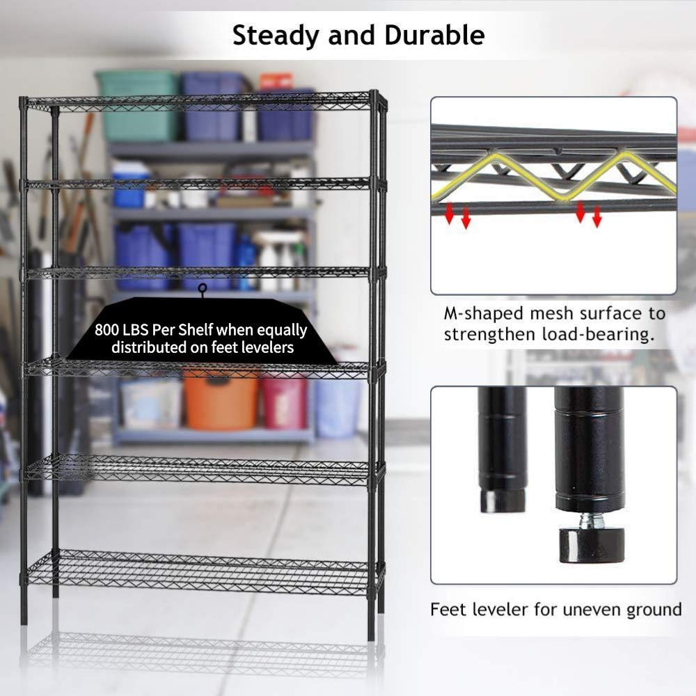 - Black Heavy Duty Standing Rack for Restaurant Pantry Kitchen 6 Tier Adjustable Wire Shelving Unit w//Casters 4800 LBS Capacity NSF Commercial Metal Storage Garage Shelves 76 H x 48 W x 18 D