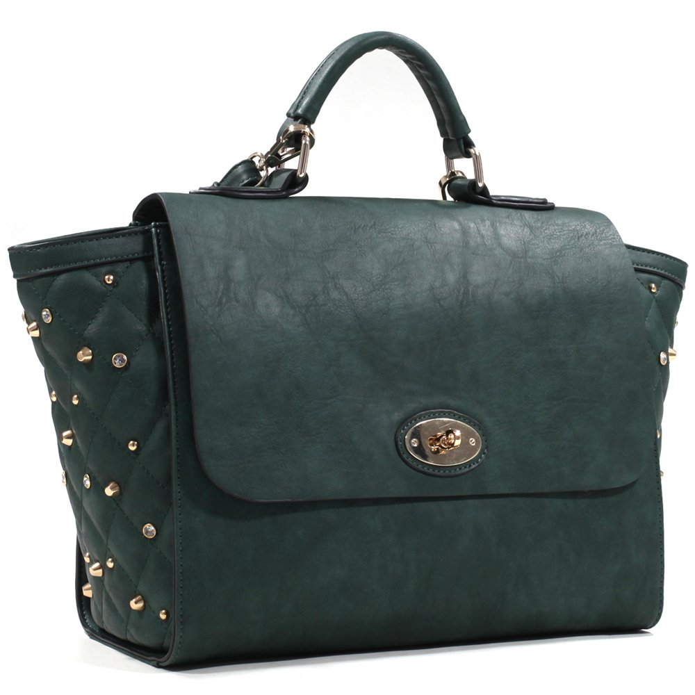 6936c68954f3d Amazon.com  Women s Studded Quilted Satchel with Twist Lock Closure -  Black  Shoes