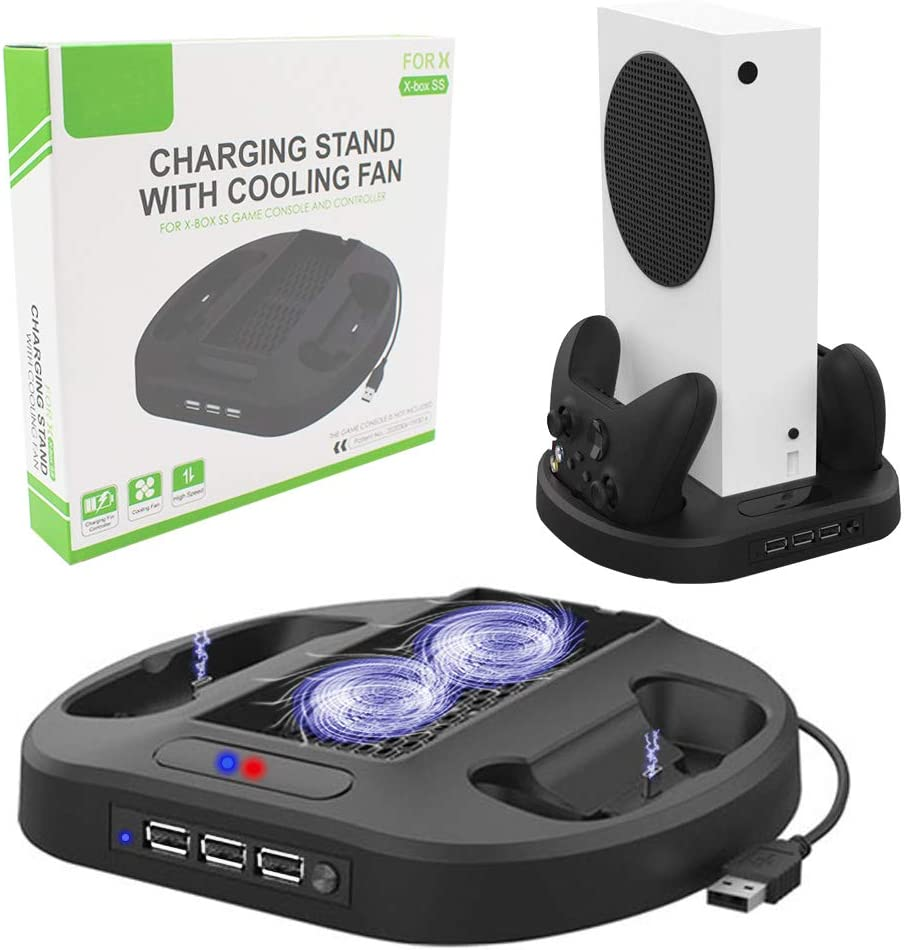 Vertical Stand with Cooling Fan, for Xbox Series S Console, Fast Cooling, Safe and Quiet, with Dual Controller Charger Ports and 3 USB HUB