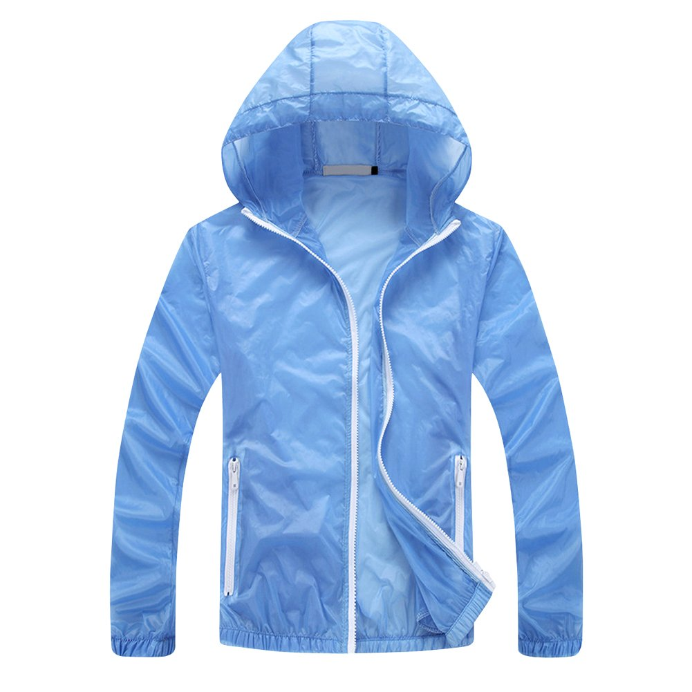Tortor 1bacha Men's Solid Hooded Windbreaker UV Sun Protection Jacket F801