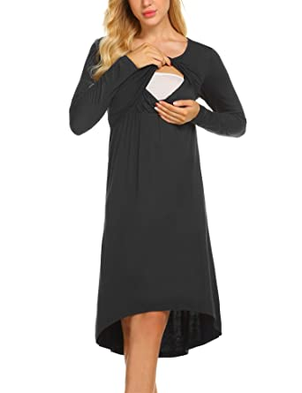 eb917b0893365 Skylin Lounge Sleepwear Dress Women's Cotton Hospital Nightgowns Solid Nursing  Nightdress (Black, Small)