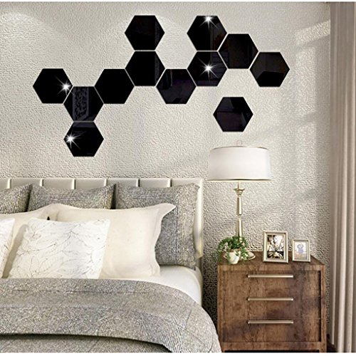12PCS DIY 3D Removable Hexagon Shaped Mirror Wall Sticker Decal Mural Home Room - 4