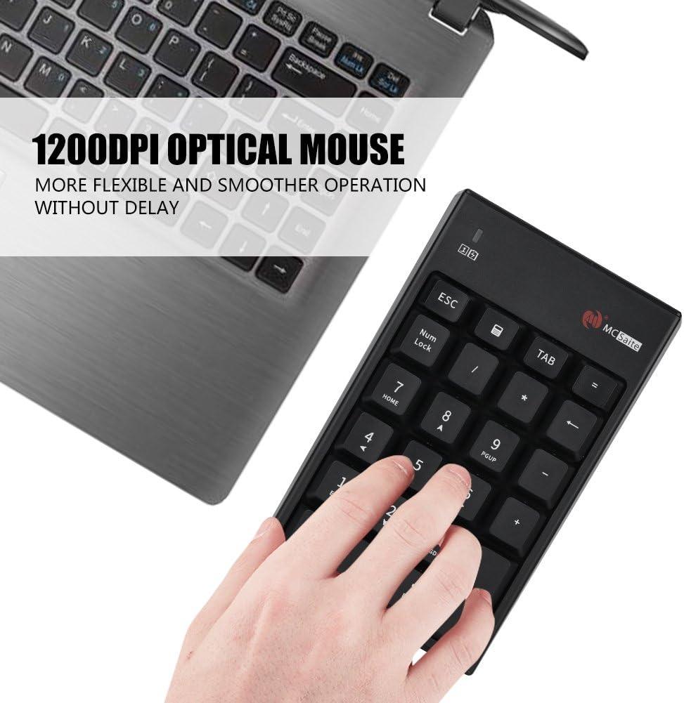 2.4GHz Wireless Keyboard Mouse Set 1200DPI Optical Mouse /& Wireless 22-Key Numeric Keyboard Pokerty Wireless Numeric Keyboard Mouse Set