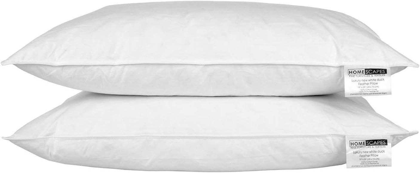 Homescapes - Almohadas de plumas de pato blanco (2 unidades, antiácaros, lavable, firmeza suave/media, funda de algodón)