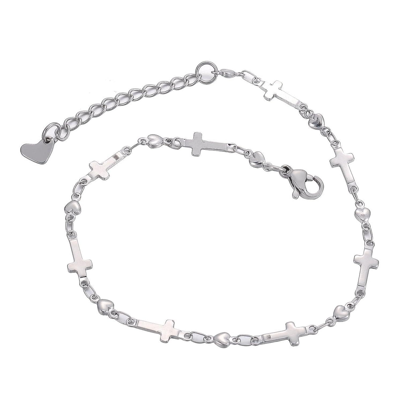 Housweety 1pc Stainless Steel Women Heart Cross Lobster Chain Ankle Anklet Bracelet
