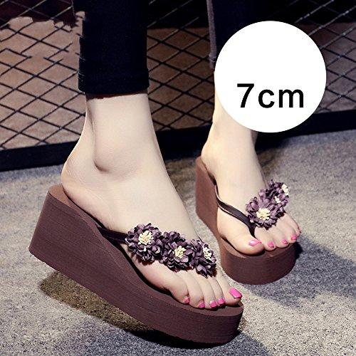 verano MEIDUO cómodo Rosa Brown sandalias 7cm Zapatillas Zapatos Azul Mujer Mujer Claro Zapatillas Azul Playa de Zapatillas Marrón Antideslizante pxBIax