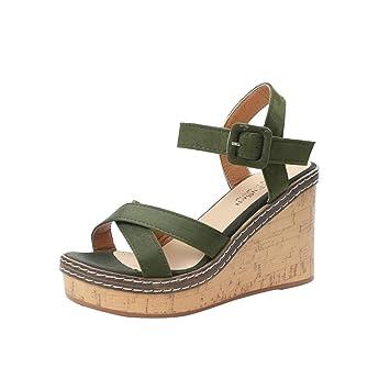 1ca0a03dc259 Women Peep Toe Platform Wedge Sandals Heels Suede Ankle Strap Shoes Women  Peep Toe Platform Wedge