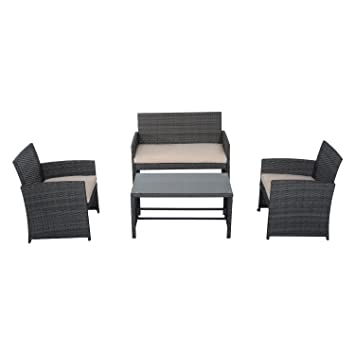 outsunny 4piece cushioned outdoor rattan wicker chair and loveseat furniture set