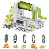 Redlemon Cortador y Rallador de Verduras tipo Espiralizador con 5 Cuchillas de Acero Inoxidable, Ventosa Adherente, Mecanismo