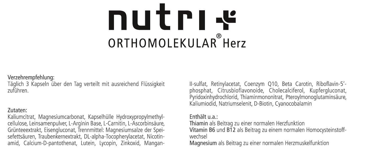 Herz-Vitamine - Nutri-Plus Orthomolekular - Vitalstoffe für Herz ...