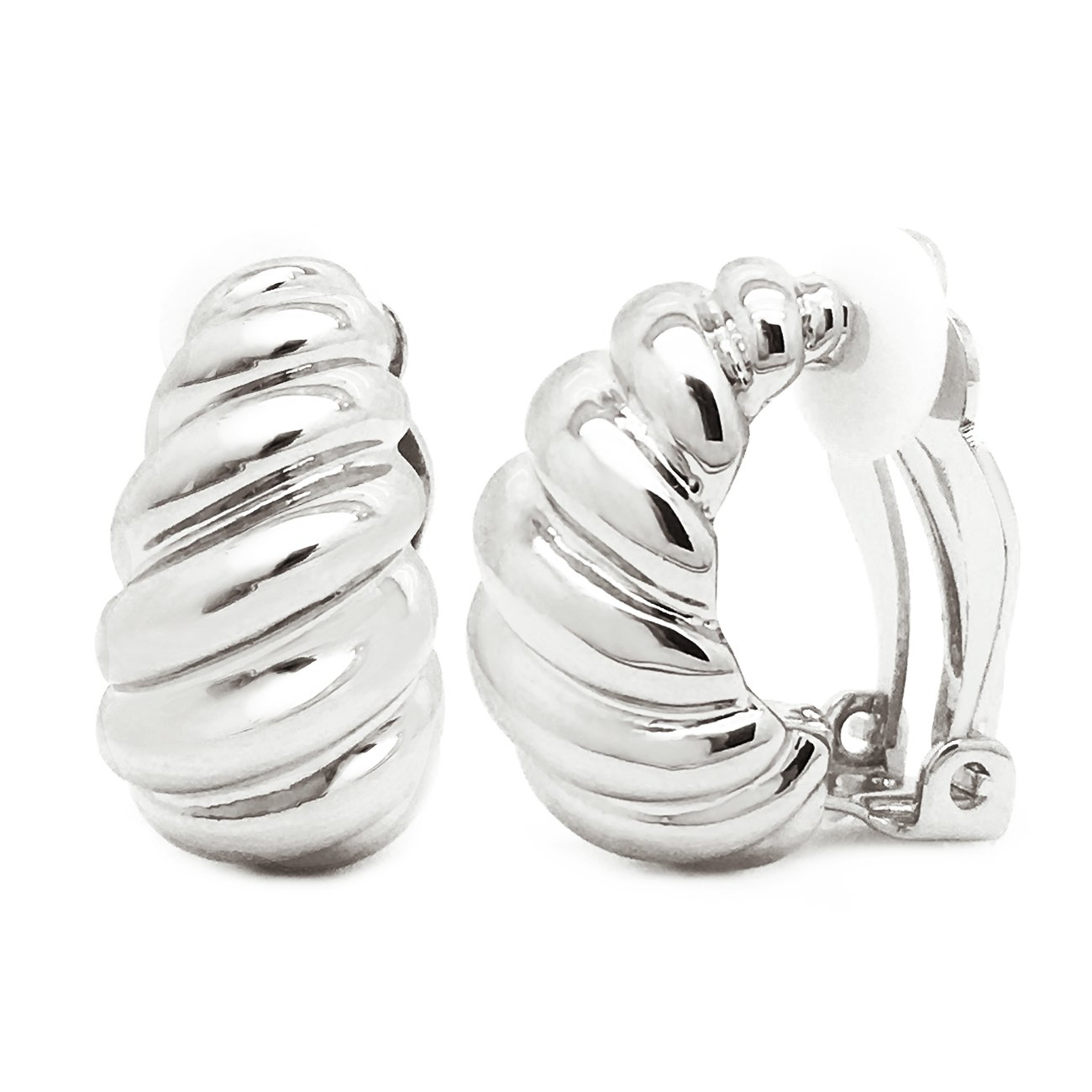 Clip on Earrings Shrimp Style Polished Rhodium Plated Classic Women Fashion