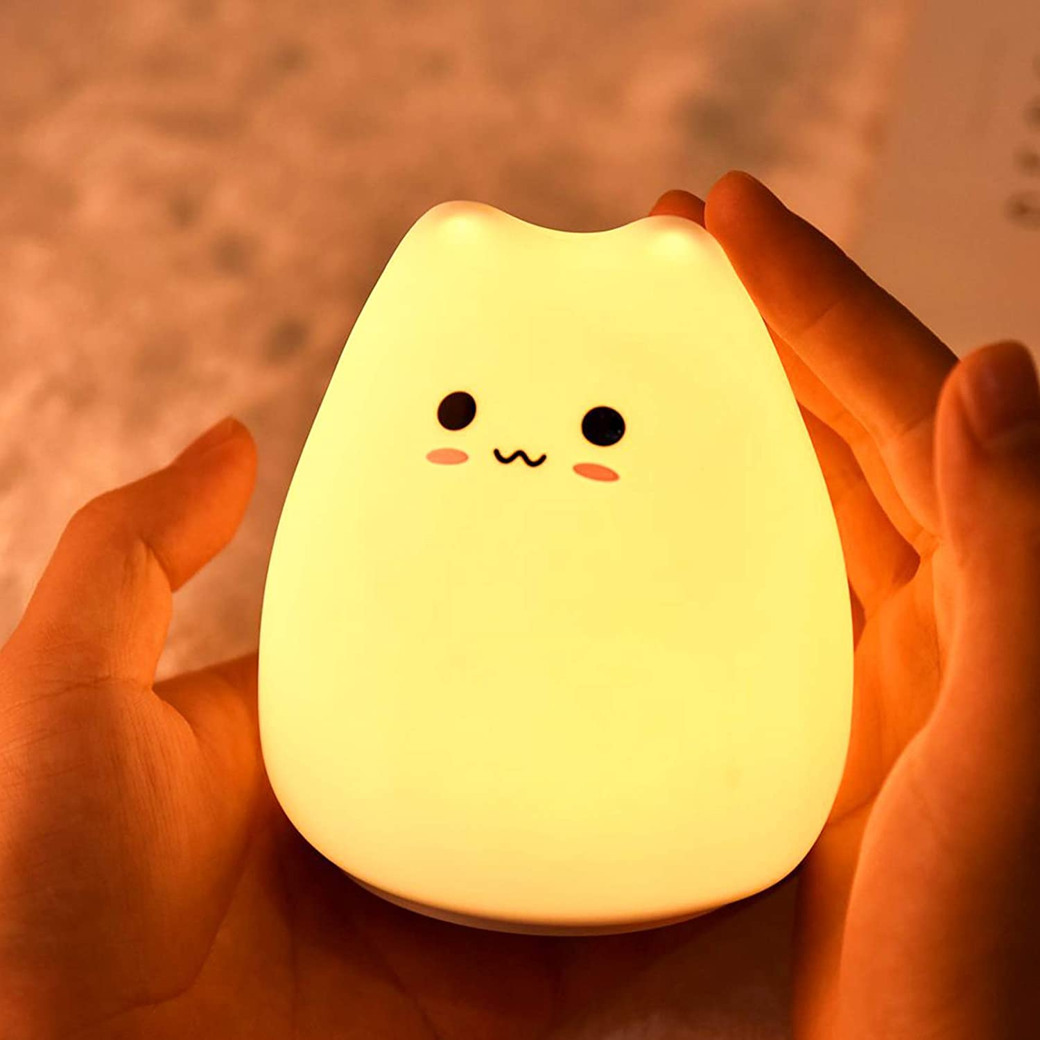 ZKLiLi Kids Night Light Cat Lamp, Kitty Night Light for Kids Tap Control Silicone Night lamp Toddler Baby Girls Gifts Cute Kawaii Nightlight Lovely Cat-Battery Powered…