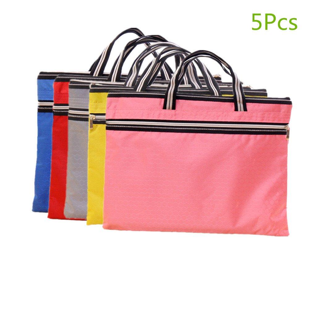 Funnylive Set of 5;Document File Holder Zipper File Bags Football Shape Shopping Bags Multicolor Double Zip Pocket Handbag (A4 Size, Random Color)