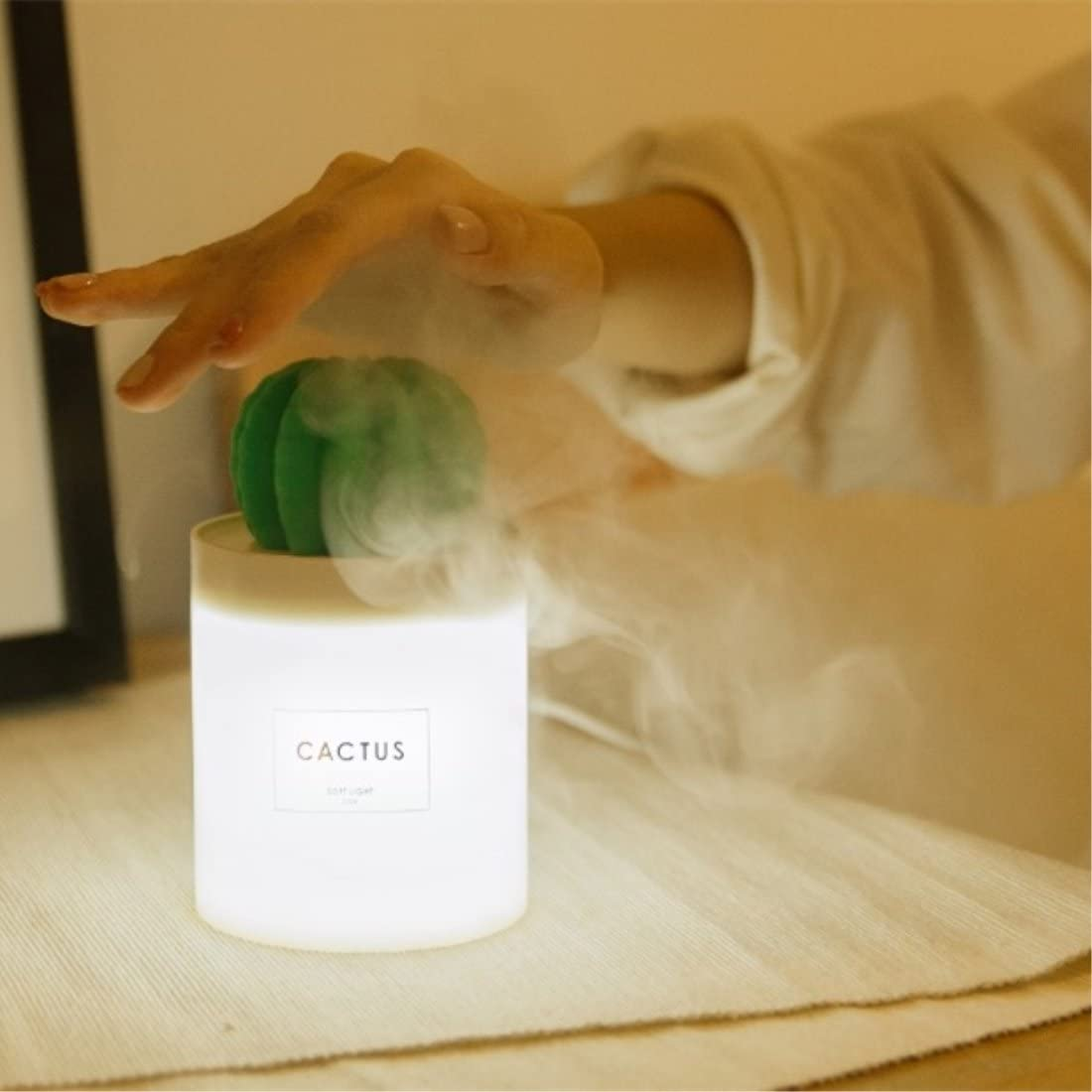 Travel Desktop Mini Cool Mist Humidifier 280ml USB Portable Air Diffuser with Auto Shut-Off Home Coffee Bar Yoga for Bedroom WEIFA Cactus Humidifier with Night Light Baby Room Office Spa