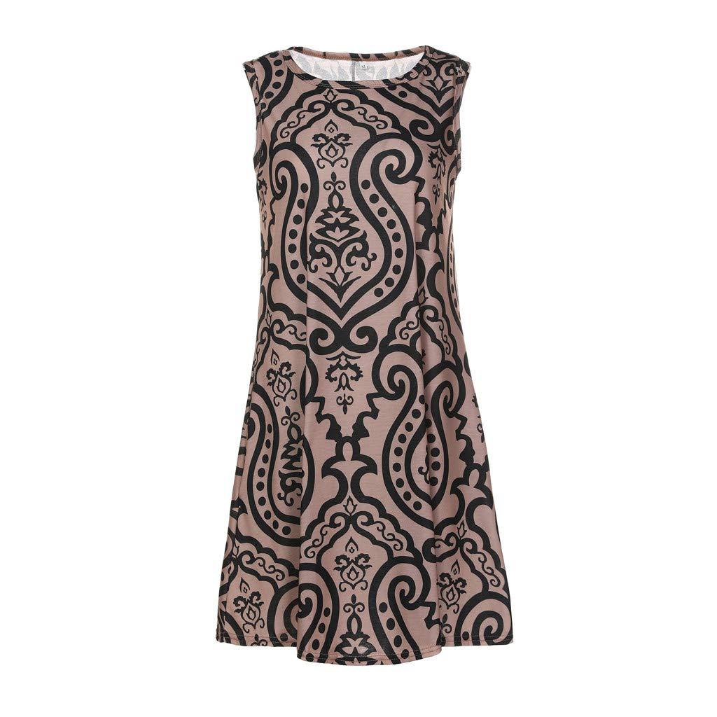 Peigen Womens Casual Floral Printed Round Neck Strap Ruffle Summer Loose Beach Mini Short Dress